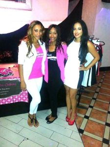 Spokesmodels Marquita Bianca (left) and Vikky A (right) with Mika Lucio, co-owner